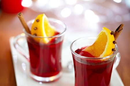 Mulled wine with slice of orange photo