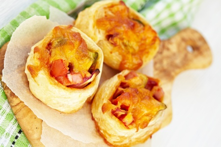 filled roll: Pizza rolls Stock Photo