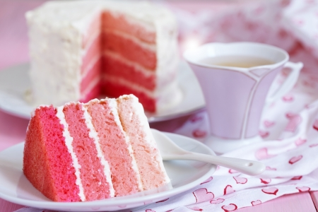pink cake: Pink Ombre Cake Stock Photo