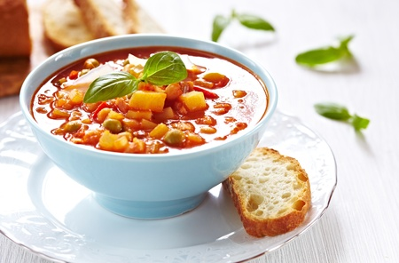 Minestrone soup with bread photo