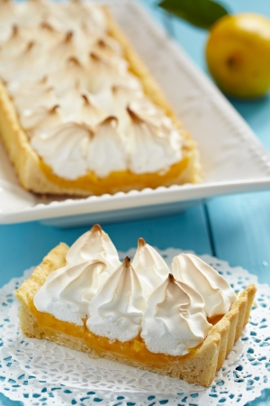cream pie: Lemon meringue pie Stock Photo