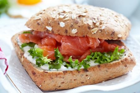 Sandwich with salmon Reklamní fotografie