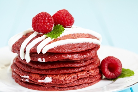 Stack of Red Velvet Pancakes photo