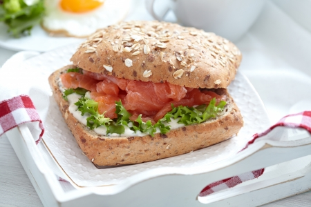 Sandwich with salmon photo