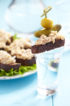 jewish food: Jewish appetizer with herring