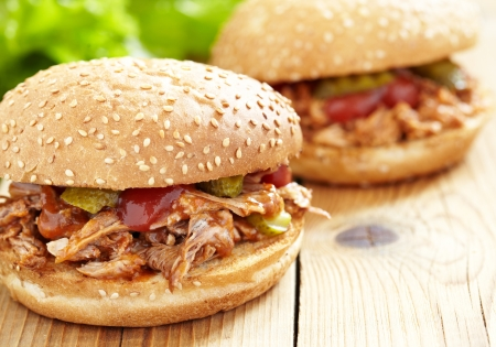 pulled: Pulled pork sandwich Stock Photo