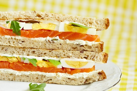 Sandwich with smoked salmon photo