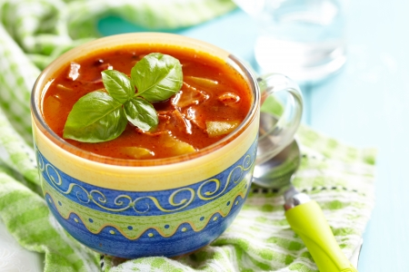 minestrone: Tomato minestrone soup with bacon Stock Photo