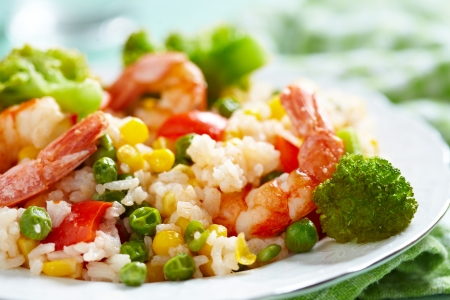 basmati: Rice with vegetables and shrimps