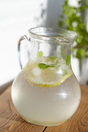 lime juice: Fresh cold ginger lemonade with ice Stock Photo