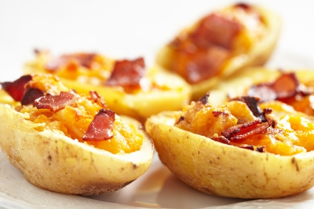 baked potato: Potato skin with bacon and cheese