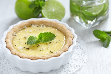 custard slices: Mojito pie with lime, mint and rum Stock Photo