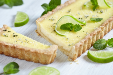 custard flavor: Mojito pie with lime, mint and rum Stock Photo
