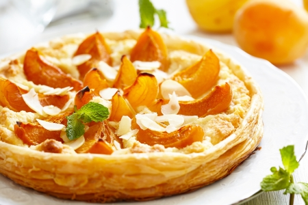Apricot and Almond Tart Stock Photo