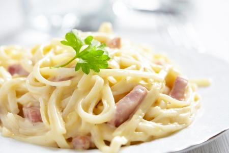 Pasta Carbonara with ham and cheese