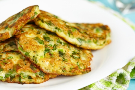 Green pancakes with zucchini and herbs
