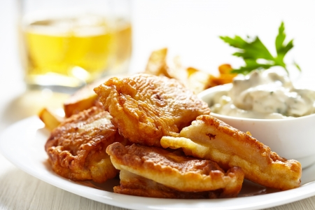 tartar: Fish and chips Stock Photo
