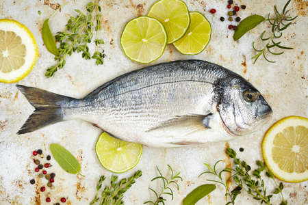 dorade: Fresh sea bream with lemon, lime and herbs