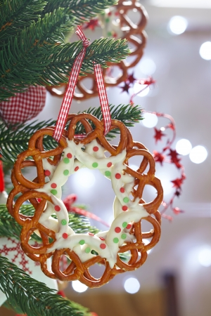 christmas decoration with chocolate covered pretzels wreath stock photo 22807382