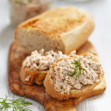 mousse: Salmon and soft cheese spread on bread Stock Photo
