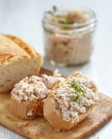 Salmon rillette with dill on bread photo