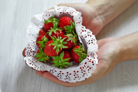 Strawberries for Valentine's Day in heart shaped box Stock Photo - 24984989