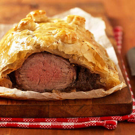 mignon: Fillet Wellington in puff pastry Stock Photo