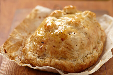 meat pie: Fillet Wellington in puff pastry Stock Photo