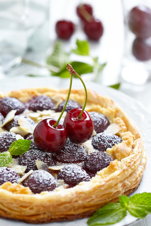 flan: Cherry and Almond Tart