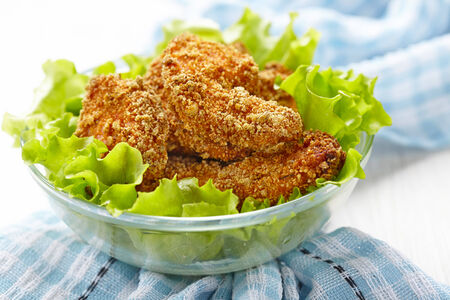 cheesy: Homemade baked chicken nuggets in cheesy crumb