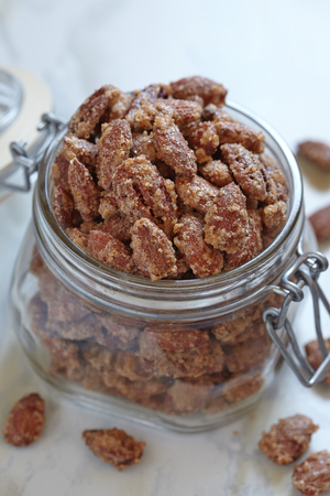 pecan: Candied almond and pecan with brown sugar and cinnamon Stock Photo