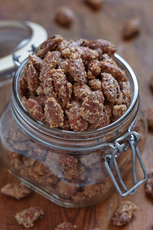 sugared: Candied almond and pecan with brown sugar and cinnamon Stock Photo