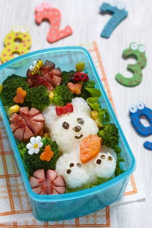 asian bunny: Bento box with school lunch for kids Stock Photo