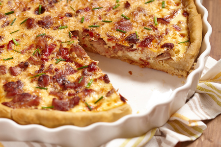 sweet and savoury: Savory pie with chicken, bacon, onion and pepper Stock Photo