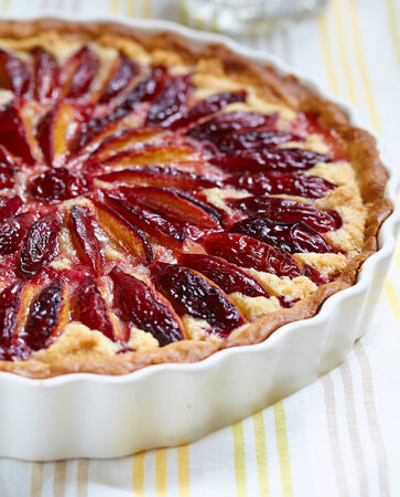 sweet and savoury: Plum and Almond Frangipane Tart on a table