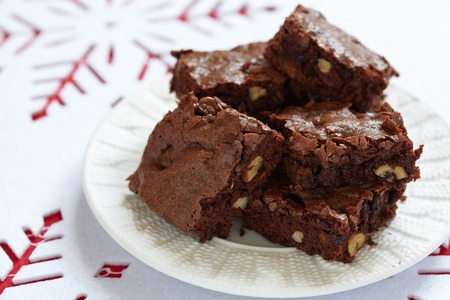Brownie squares with chocolate chips and nuts