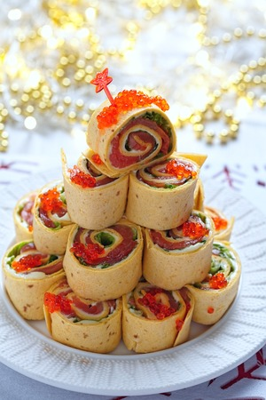 pinwheels: Salmon, cream cheese and iceberg lettuce pinwheels for Christmas