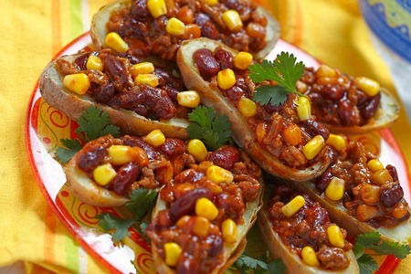 Baked Potato Skins with Mexican Chili Con Carne photo