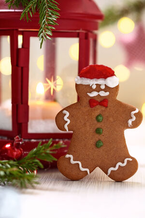 Christmas Decorations with Gingerbread cookie mustache man photo