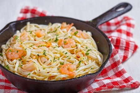Pasta with Shrimp Scampi in a pan
