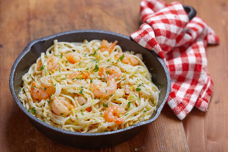 Pasta with Shrimp Scampi in a pan photo