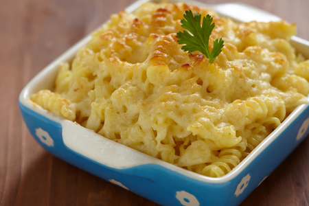 casserole: Baked Macaroni and Cheese in baking dish