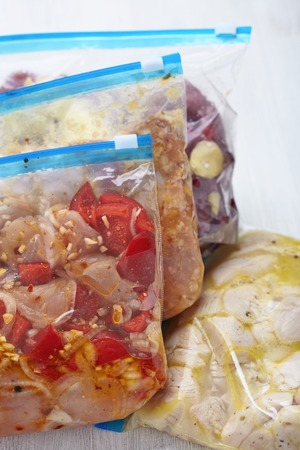 freezer: Chicken Crock Pot Freezer Meals for Slow Cooking Stock Photo