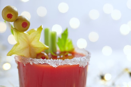 bloody  mary: Bloody Mary Cocktail with olives  for Christmas