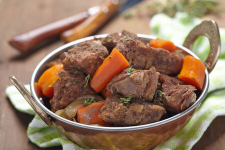 stew pot: Homemade Irish Beef Stew with Carrots and Potatoes