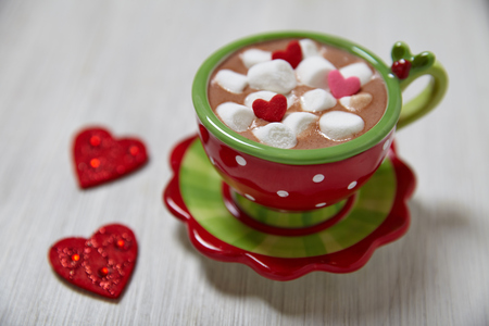 Hot chocolate with marshmallows for Valentines day photo
