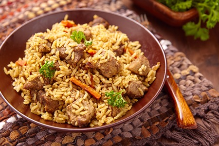 biryani: Rice pilaf with lamb meat and vegetables