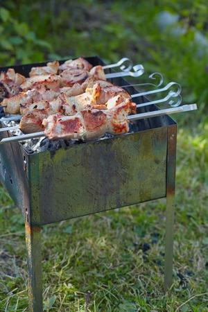 Pork meat shashlik roasted on a skewers photo