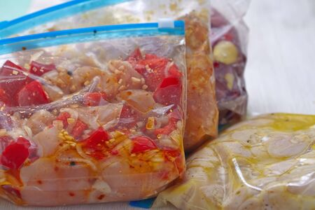 Frozen meat: Chicken Crock Pot Freezer Meals for Slow Cooking Stock Photo
