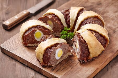 Meatloaf ring stuffed eggs for a Easter photo